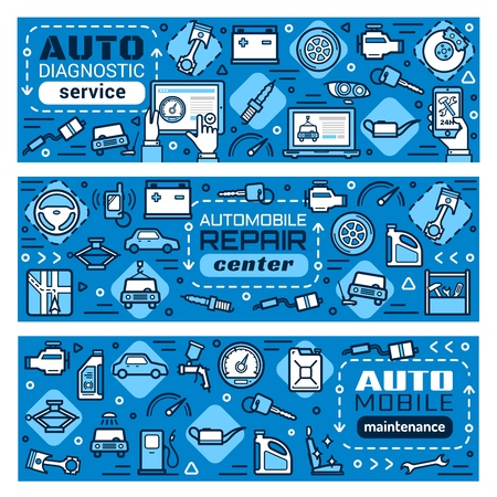 Car service thin line banners, mechanic auto diagnostic and vehicle restoration garage. Vector automobile spare parts of engine spark plugs, GPS navigation installation, tire pumping and tow service
