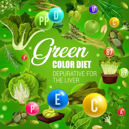Color diet healthy nutrition, green vegetables and fruits food vitamins. Vector natural organic green color diet depurative for liver, lettuce salads, leek and broccoli, cabbages, berries and nuts