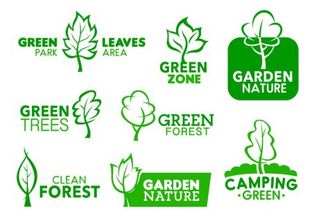 Green leaf and tree icons, company corporate identity symbols. Vector green park area, garden zone and clean forest social project, outdoor camping and landscape design signs  イラスト・ベクター素材