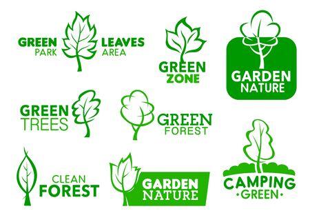 Iconos de hojas y árboles verdes, símbolos de identidad corporativa de la empresa. Vector área de parque verde, zona de jardín y proyecto social de bosque limpio, camping al aire libre y letreros de diseño de paisaje