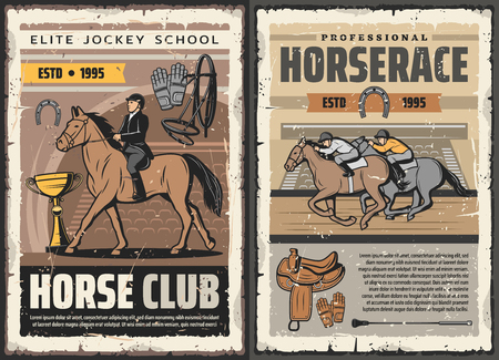 Horserace sport and equestrian races club vintage posters. Vector elite jockey and polo game riders school, hippodrome equine riding championship and tournament on racecourse arena