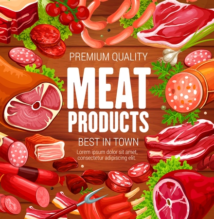 Butcher shop meat and sausages, natural butchery farm products. Vector salami and cervelat sausages, beef steak and pork ham or mutton ribs, gastronomy gourmet veal medallions and bacon