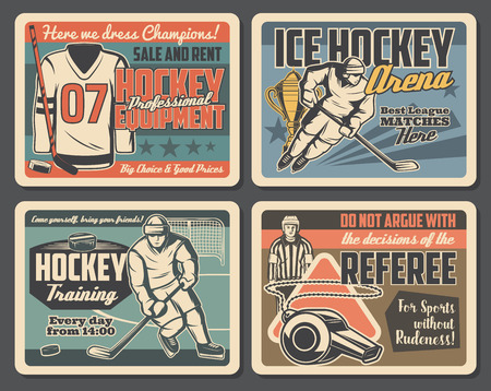 Ice hockey championship, league match and professional sport equipment shop vintage posters. Vector ice hockey player or goalkeeper in helmet, referee whistle, hockey stick and puck on arena rink