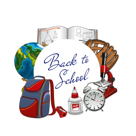 Back to school lettering, students supplies in round frame. Vector textbook on geometry, baseball glove on PT sport lessons, microscope and clock. Globe sphere and backpack, pencil sharpener Ilustração Vetorial