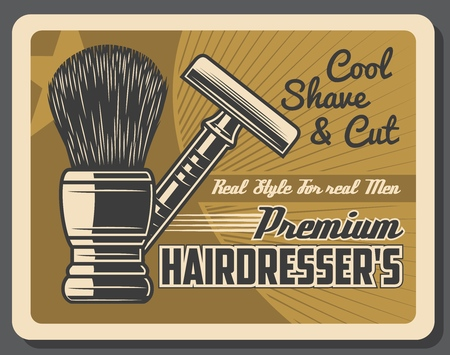 Barbershop vintage poster, premium men hairdresser salon, mustaches shave and hair cut. Vector retro shaving brush, beard razor blade and quality barber shop star