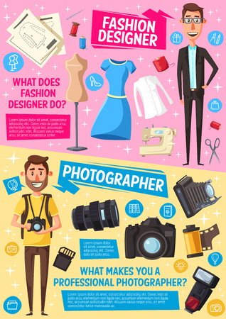 Fashion designer and photographer professions, dressmaking and photography industry. Vector people and professional work items, tailor sewing machine and scissors, journalist photo camera and films