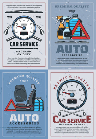Car service center, mechanic diagnostic and repair garage station posters. Vector automobile parts and liquids shop, wheel lug wrench and speedometer, seat upholstery and windshield wiper blades