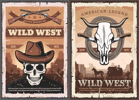 Affiche grunge vintage de l'Ouest américain du Far West. Crâne de squelette de vecteur en chapeau de cowboy, fusil de chasse de bandit et lasso de cheval sauvage, chariot de roue de wagon occidental dans la prairie et crâne de taureau Vecteurs