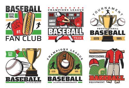 Baseball sport tournament, professional team club badges and league tournament icons. Vector baseball or softball game player bat and ball, victory golden cup, scoreboard and thumb up fan glove Banque d'images - 124634517