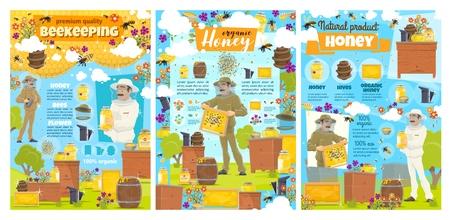 Affiches de ferme apicole et de production d'aliments au miel naturel avec des éléments infographiques. Apiculteur de vecteur avec fumeur ramassant du miel dans les nids d'abeilles des ruches, abeilles volant sur les fleurs