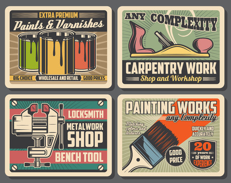 Carpentry, construction and home renovation tools workshop vintage posters, Vector decor paints and varnish brushes, woodwork plane and locksmith metal work vise or bench tool shop Stock Illustratie