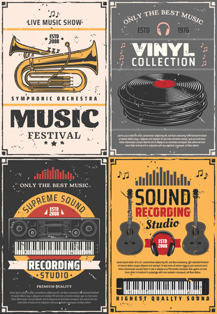 Music and sound recording studio, vinyl records shop and music festival vintage retro posters. Vector music band instruments, DJ headphones and jazz trumpet, synthesizer piano and electric guitars