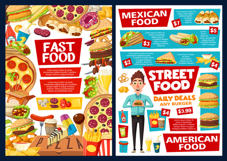 Fast food restaurant burgers, hot dogs and Mexican cuisine price menu. Vector fastfood combo meals menu of cheeseburger, tacos and burrito with ketchup, kebab and soda, donut dessert and coffee