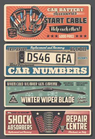 Car parts and mechanic repair service center vintage posters. Vector car registration numbers replacement, vehicle engine start cables and windshield wiper blades, shock absorbers restoration service