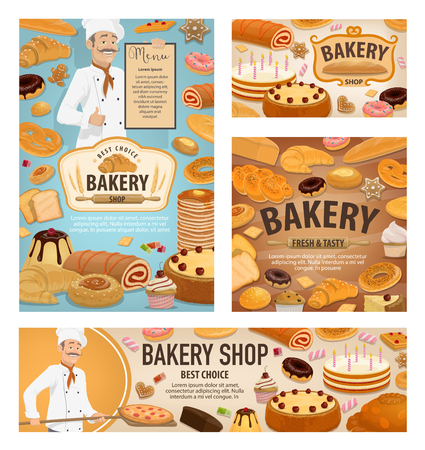 Bakery shop bread, dessert cakes and pastry cookies. Vector bakery posters and banners with baker baking bread and pizza in oven, croissants and wheat bagel buns, donuts and patisserie birthday cakes