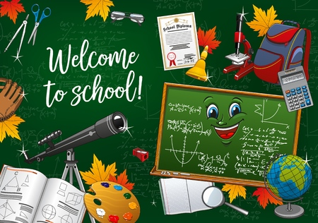 Welcome to school, student education season, study supplies and stationery items. Vector back to school poster, cartoon chalkboard smiling, student bag and mathematics formula with graduation diploma Illustration