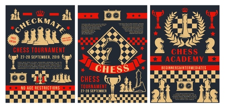 Chess academy tournament, checkmate strategy sport championship game posters. Vector chess club cup for beginners and professional players, with game score clock and chessboard pieces
