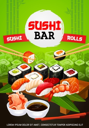 Sushi bar menu cover, Japanese food and Asian seafood restaurant. Vector Japanese sushi and maki rolls with wasabi, soy and bamboo chopsticks, eel unagi maki gunkan roll in nori and shrimp sushi