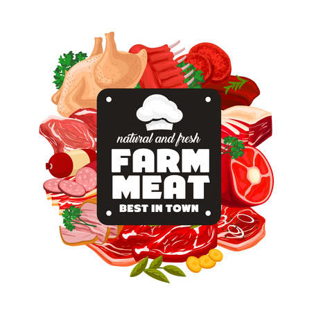 Butcher shop farm meat and natural sausages products. Vector butchery meat and poultry gastronomy for gourmet cooking, turkey or chicken, salami sausage, beef steak and pork ham or mutton ribs