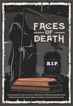Funeral service, burial ceremony organization agency or company vintage poster. Vector death in black gown with scythe at cemetery tombstone with funeral Rest in Peace RIP text and coffin Illustration
