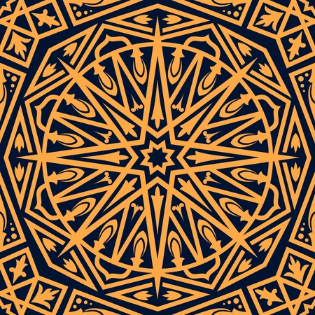 Arabic oriental ornament seamless pattern. Vector Arabian geometric decoration background, abstract Eastern or Moroccan arabesque, Turkish ornate mosaic motif and Islamic antique pattern
