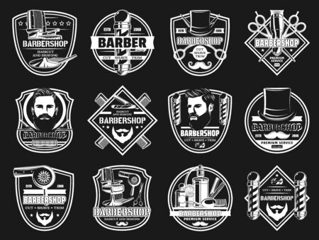 Barbershop haircut salon signs and man mustache and shaving barber shop icons. Vector premium badges of man head with haircut, barbershop pole signage, gentleman hat with scissors and razor blade