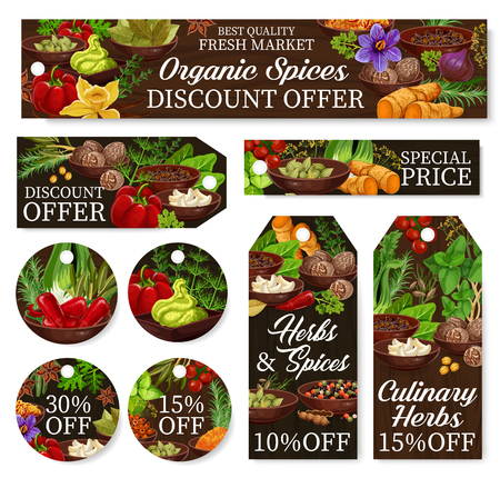 Cooking spices store discount labels, herbs and herbal seasonings shop promo offer price tags. Vector organic garlic, pepper and basil, farm onion and tomato, pepper and horseradish spicy condiments