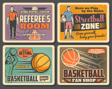 Basketball champions league tournament, streetball sport club championship vintage posters. Vector basketball player with ball goal in basket, referee whistle and sport bets payouts