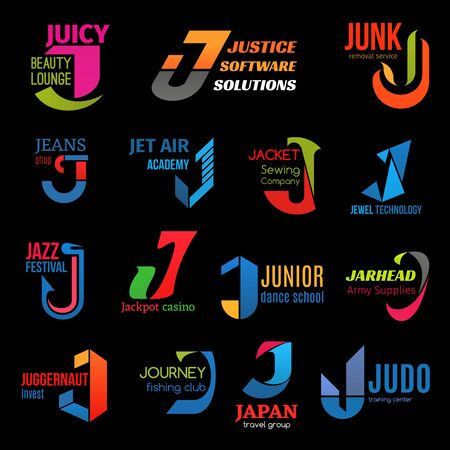 Letter J icons, business corporate identity. Vector J symbol, jazz music festival and dance school or judo sport center, fishing journey club or air academy and sewing company or jewelry technology  イラスト・ベクター素材