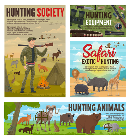 Wild animals hunting and African safari hunt, hunter ammo equipment. Vector hunter in camouflage with rifle gun and bullet cartridge belt on hunting for lion, elephant or rhinoceros, bear and elk