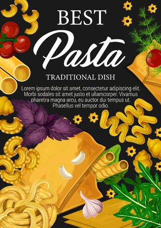 Italian pasta traditional dish cooking, premium restaurant menu. Vector Italy cuisine homemade pasta canneloni, lasagna with tomato and basil, spaghetti or fettuccine with arugula and gobeti rigati Ilustracja