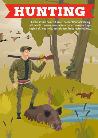 Forest hunting, hunter in camouflage wild animals trophy and ammo equipment, rifle gun and bullet cartridge bandoleer. Vector open season hunt for boar, rabbit and ermine or mink and ducks