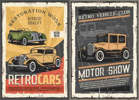 Demostración de coches antiguos de época, club de motor de vehículos raros y trabajos de restauración de automóviles retro carteles de grunge. Estación de garaje de reparación mecánica y diagnóstico de transporte de colectores y automóviles de rareza vectorial