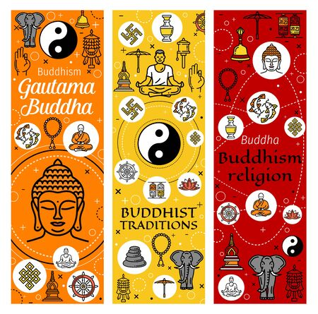 Buddhism religion banners of Buddhist meditation and Buddhist tradition icons. Vector Dharma wheel, Yin Yang fish and sign, Buddha with mudra hand, lotus and Buddhism victory banner Illustration