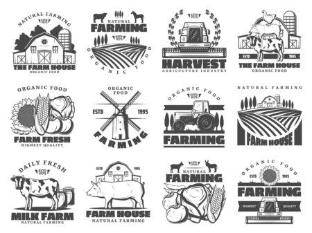 Agricultura agrícola e industria ganadera, agricultura producción de alimentos. Iconos vectoriales de animales de granja de ganado vacuno y cerdo, pollo de aves de corral, cosecha de frutas y verduras orgánicas, productos cárnicos de granja