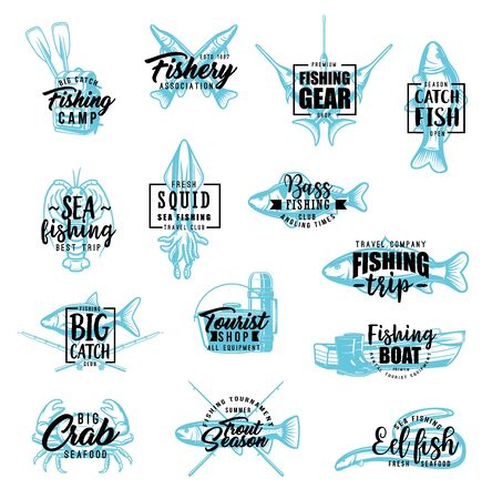 Fishing and fish catch lettering. Vector calligraphy symbols of fishery sport, fishing tackles and seafood squid, lobster crab and fisherman equipment hooks, and rods for marlin, tuna or salmon