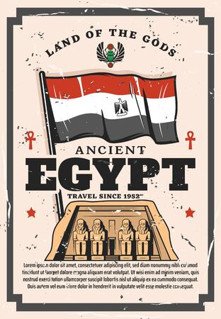 Ancient Egypt travel company vintage poster, Egyptian historic sightseeing and landmark tours. Vector Egypt flag and coat of arms crest, Pharaoh pyramid and ancient signs, culture and history museum Illustration