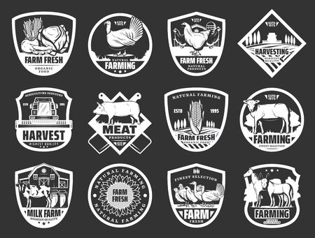 Farm icons and farming food production company signs. Vector cattle farm cow and horse animals, poultry birds, organic vegetables and fruits harvest, farm meat and natural dairy food Illustration