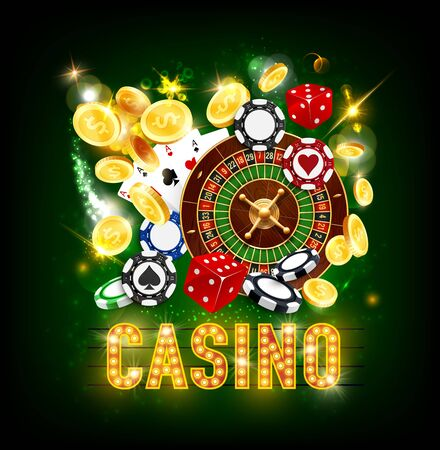 Casino poker whee of fortune roulette and jackpot game golden coins splash win. Vector dollars money, casino playing ace cards, dice and sparkling light signage on green background Standard-Bild - 124634544