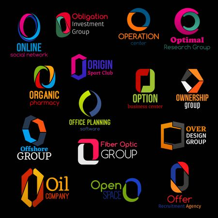 O icons, corporate identity letter signs and business company symbols. Vector O, social network app or commercial investment group and organic pharmacy, design studio or recruitment agency 일러스트