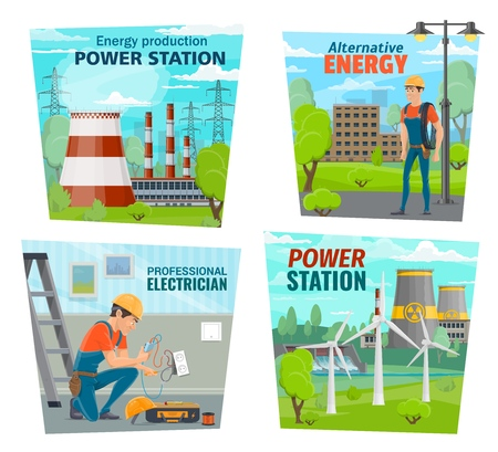 Energy production power station, electricity generation and electrician profession. Vector alternative energy windmills, nuclear or hydroelectric power plant and electrician service repair tools Illustration