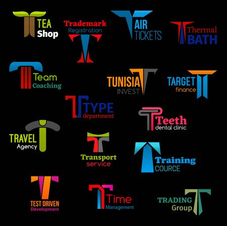 Corporate identity T letter icons of business company and service. Vector T symbols of trademark registration agency, air tickets office or thermal bath SPA salon and dental clinic, trade and travel