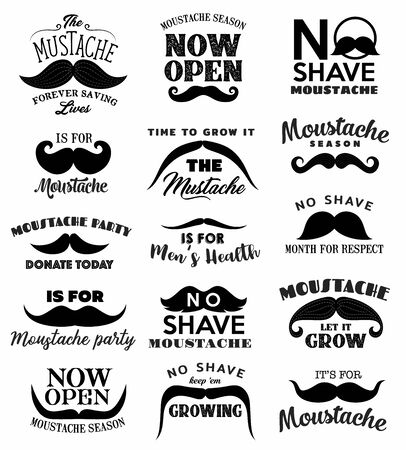 No shave November beard and moustache vector icons of prostate and testicular cancer awareness month. Retro mustaches with bushy hair and curved tips, men health themes Ilustração