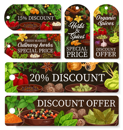 Cooking spices, seasonings and herbs, farm shop discount tags. Vector special price offer for organic garlic, pepper and basil, wasabi and paprika spices, herbal condiments and culinary ingredients Illustration