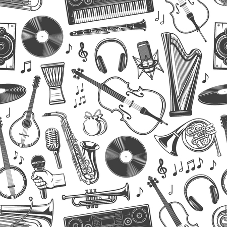 Music instruments seamless pattern of guitar, piano and violin with music notes. Vector folk maracas, jazz saxophone and DJ vinyl disc, record player and headphones and singer microphone pattern Illusztráció