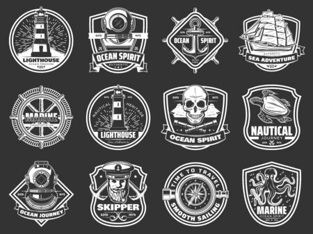 Nautical symbols and marine adventure icons. Vector ocean spirit heraldic signs of lighthouse, ship anchor and frigate helm, navigation compass and captain sailor skull, aqualung and turtle