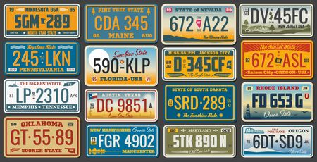 USA vehicle registration plates with state and city symbols. Vector American car number plates of Minnesota, Nevada and Maryland, Rhode Island or Memphis and Tennessee, New Jersey and Oregon