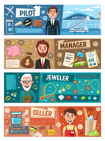 Store seller and business manager, jeweler and business manager professions banners. Vector cartoon aviation plane in airport, gemstones and jewels, supermarket shopping cart, money and contracts