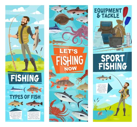 Fishing and fisher equipment, tackles and lures for big fish catch. Vector fishing sport rod, net and spinning for ocean tuna, marlin or flounder and seafood octopus, crab lobster or river pike