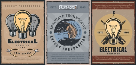 Energy production and electricity power generation vintage posters. Vector electrical service tools lamp light bulb, electric wire cutter and voltage tester, innovative energy production technology